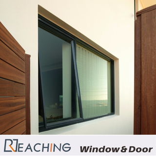 Fixed + Awning Aluminium Windows Black Color Design as Requirments with Durable Lock
