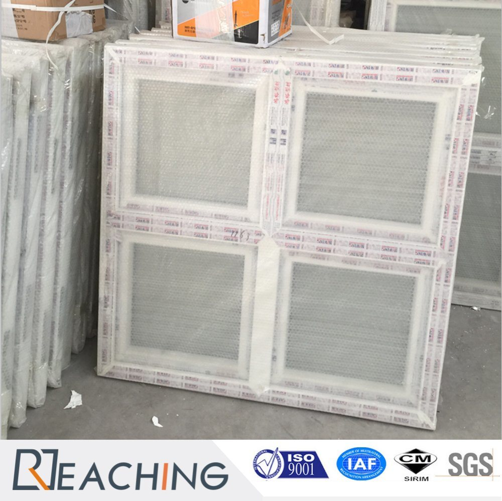 White Colour UPVC / PVC Profile Tempered Glass Awning Window