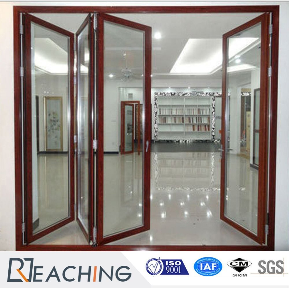 Wood Grain Color Aluminium Folding Door Factory Manufacturer
