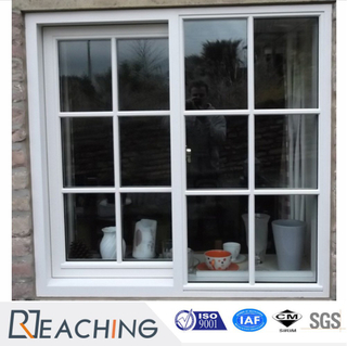 Guangzhou Factory Grill Design UPVC Profile Sliding Windows